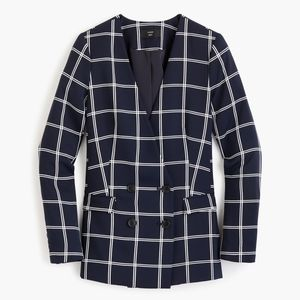J. Crew French Girl Windowpane Crepe Blazer